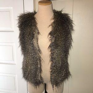 Express XS Brown Faux Fur Vest